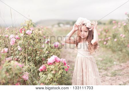 Smiling kid girl 4-5 year old wearing wreath with roses in meadow. Looking at camera. Childhood.