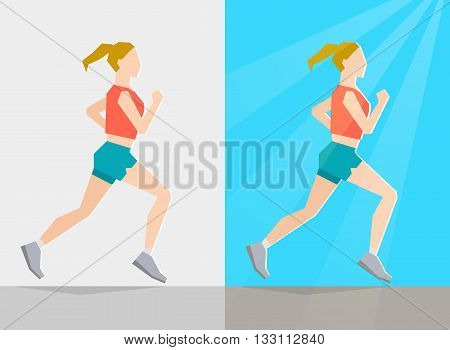 Running girl dressed in summer clothes on gray background and background with summer seasonal elements. Running at any season and healthy lifestyle concept