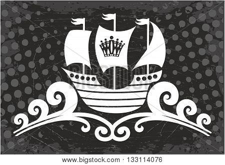 Ocean Ship sign. Retro sailing ship, Vector Illustration