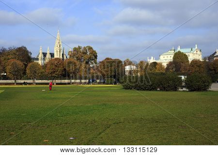 Few People Walking At Sigmund-freud Park