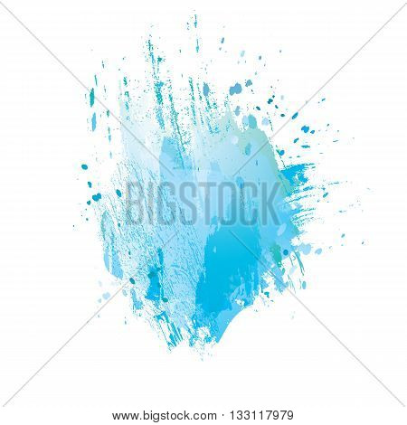 Watercolor splash background. Vector grunge abstract background. Colorful texture. Handmade elements. Watercolor blue stamp. Water summer background.