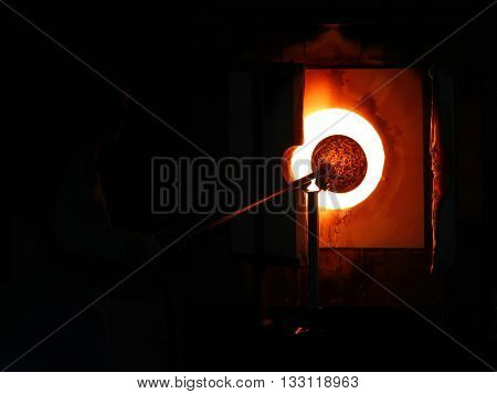 glass blast furnace hot and hard worker