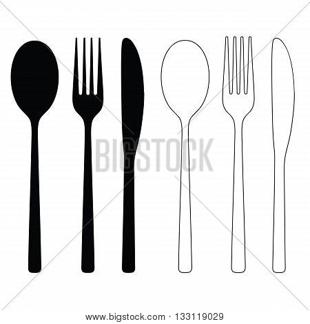 Cutlery Icon Black and White Vector Illustration Silhouettes