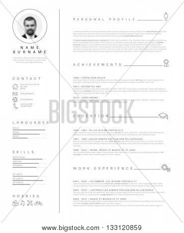 Vector minimalist cv / resume template with nice typogrgaphy design.