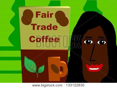 In front of a coffee plantation are a package of fair trade coffee and a smiling colored Brazil woman.