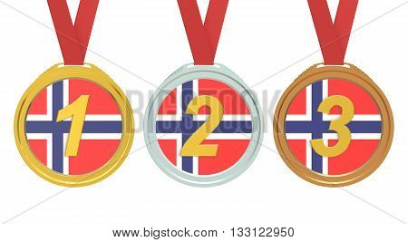 Gold Silver and Bronze medals with Norway flag 3D rendering