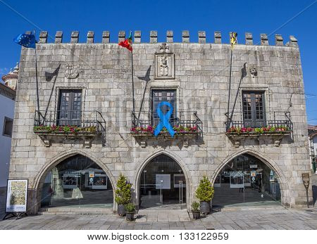 VIANA DO CASTELO, PORTUGAL - APRIL 24, 2016: Old building at Praca da Republica in Viana do Castelo, Portugal