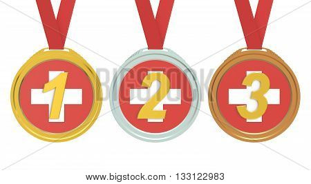 Gold Silver and Bronze medals with Switzerland flag 3D rendering