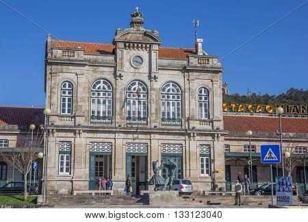 VIANA DO CASTELO, PORTUGAL - APRIL 25, 2016: Railway station in Viana do Castelo, Portugal