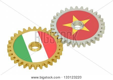Italy and Vietnam flags on a gears 3D rendering isolated on white background