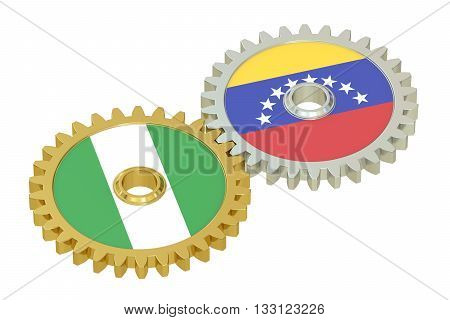 Nigeria and Venezuela relations concept flags on a gears. 3D rendering isolated on white background