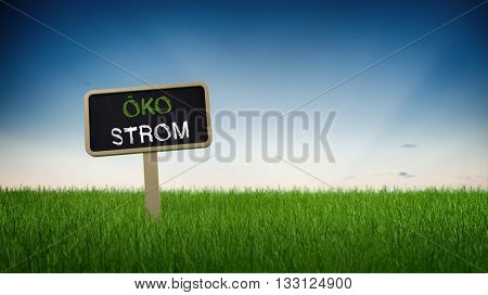 Little rectangular black chalkboard sign in tall green turf grass with German text ECO ELECTRICITY and clear blue sky background. 3d Rendering.