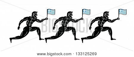 Ancient greek athletic runners with national flag of Greece.