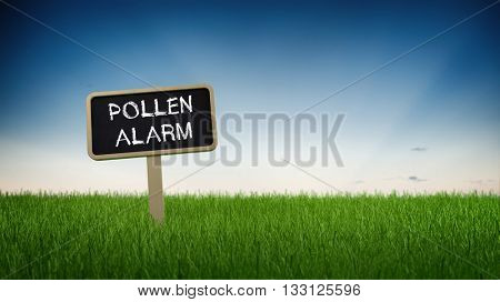 Pollen allergy alert text in white chalk on blackboard sign in flowing green grass under clear blue sky background. 3d Rendering.