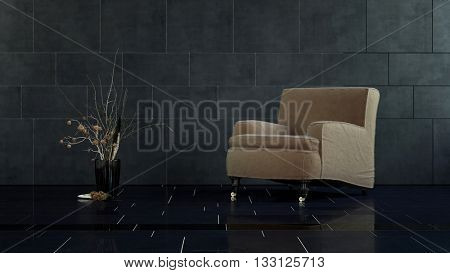 Brown Arm Chair and Vase with Decorative Dried Floral Arrangement in Spacious Modern Room with Black Tile Floor and Walls. 3d rendering