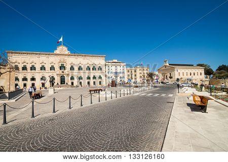 Valletta, Malta - May 05, 2016: Auberge De Castille
