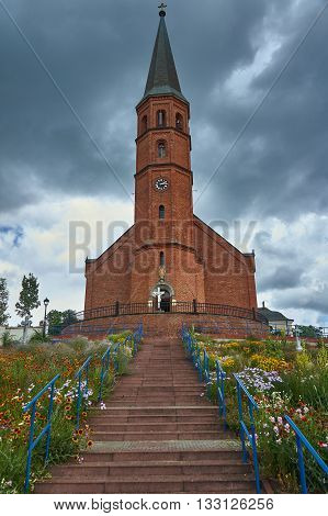 Belfry of the parish church in Grodowiec Poland poster