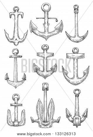 Naval anchorage devices isolated sketch icons of fisherman anchors with tiny flukes, admiralty anchors with curved arms and navy stockless anchors with raised broad flukes