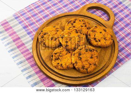 Homemade chocolate chip cookies. Homemade biscuit. Homemade cookies.Sweet dessert. Breakfast cookies. Sweet pastry.