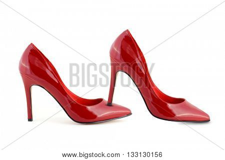 Woman red shoes isolated on white background