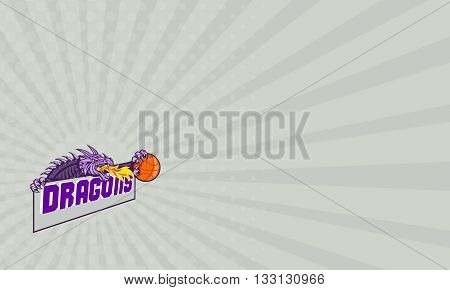 "Business card showing illustration of a purple dragon head breathing fire clutching basketball ball and banner with the word ""Dragons"" set on isolated white background done in retro style."