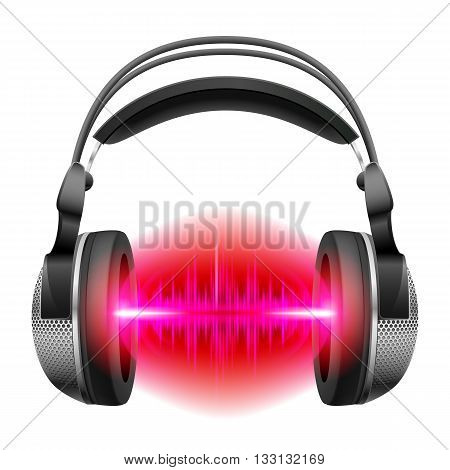 Headphones with red and purple sound waves. Illustration on white background