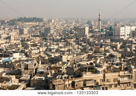 Aleppo Syria. View of the city from above
