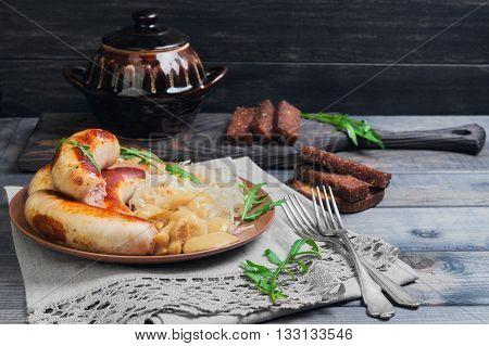 Sauerkraut With Fried Munich Sausages