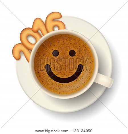 Coffee cup with funny smiling face on frothy surface, cookies in shape of digits are forming together the number 2016 on saucer. Good mood and vivacity for active days in New Year 2016