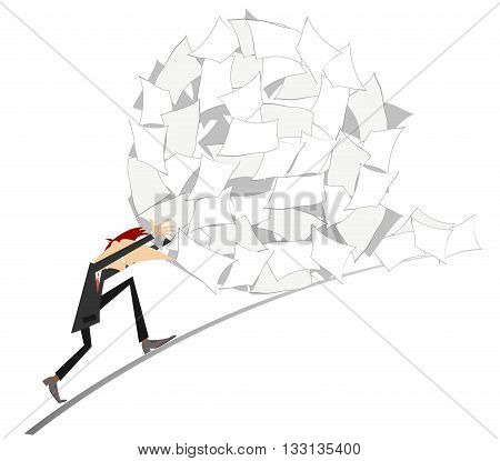 Hard work. Businessman rolls up a big ball of papers