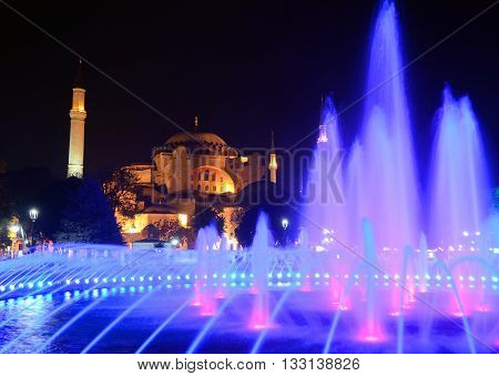 ISTANBUL SEPT. 30: Fountain at night in front Hagia Sophia in Istanbul on sept. 30, 2013 in Istanbul, Turkey. Hagia Sophia is a former Orthodox patriarchal basilica, later a mosque, and now a museum.