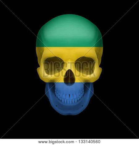 Human skull with flag of Gabon. Threat to national security war or dying out