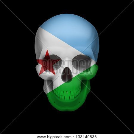 Human skull with flag of Djibouti. Threat to national security war or dying out