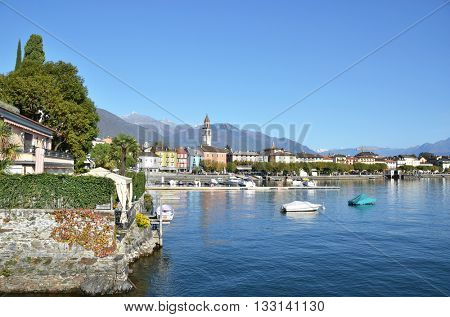 Ascona, famous Swiss resort at Maggiore lake