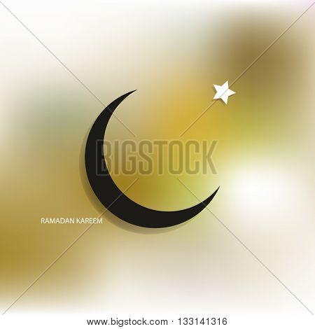 Ramadan Kareem. Ramadan mubarak Greeting card, invitation for muslim community holy month on blurred background. moon and star. eps10 vector