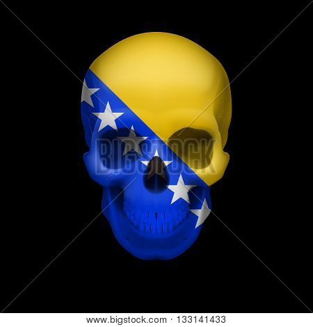 Human skull with flag of Bosnia and Herzegovina. Threat to national security war or dying out