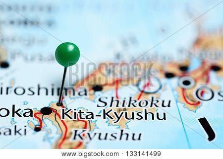 Kita-Kyushu pinned on a map of Japan