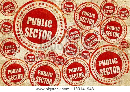 public sector, red stamp on a grunge paper texture