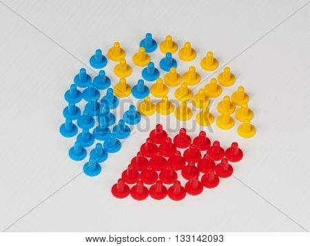 Random group with a small foreign object ring out illustrated by colored plastic board game hats in various colors