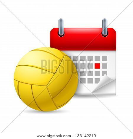 Icon of volleyball and calendar with marked day. Sport event