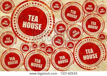 tea house sign, red stamp on a grunge paper texture