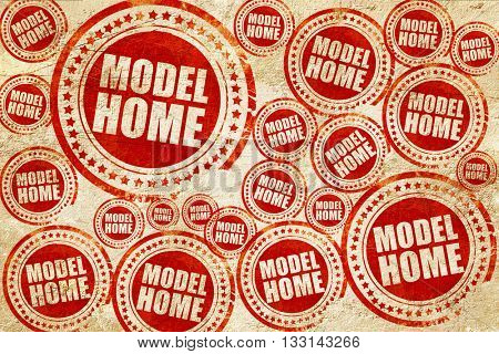 model home, red stamp on a grunge paper texture