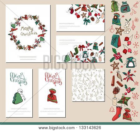 Festive templates with different  traditional Christmas symbols, gift boxes and decoration. Red and green,vintage style.  For your design, announcements, greeting cards, posters, advertisement.