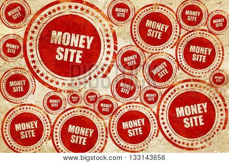 money site, red stamp on a grunge paper texture