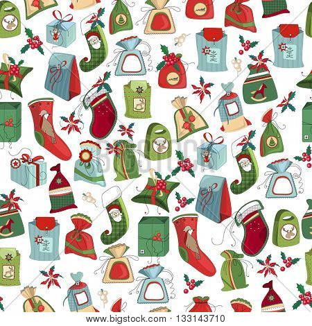 Seamless festive pattern with traditional Christmas gift boxes and decoration. Green, blue and red color. Endless texture for Christmas design, fabrics, wallpapers, greeting cards, wrappings.