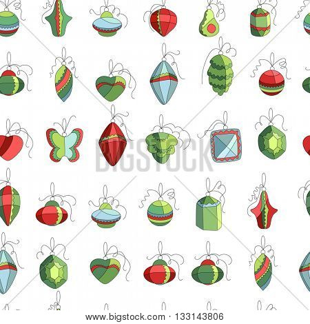 Seamless festive pattern with traditional Christmas decoration. Green, blue and red color. Endless texture for Christmas design, fabrics, wallpapers, greeting cards, wrappings, advertisement.