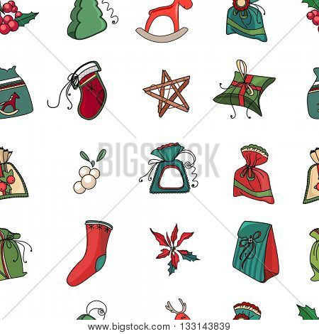 Seamless festive pattern with traditional Christmas symbols and decoration. Red and green color. Endless traditional  texture for Christmas design, fabrics, wallpapers, greeting cards, wrappings.