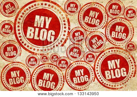 my blog, red stamp on a grunge paper texture