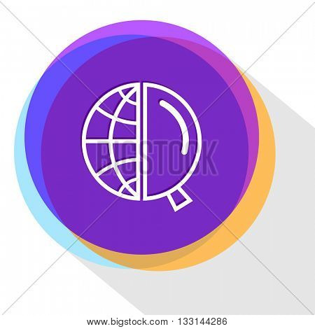 globe and magnifying glass. Internet template. Vector icon.