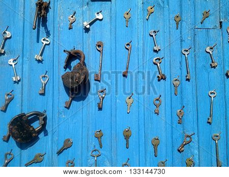 Collection of keys and locks for all doors.